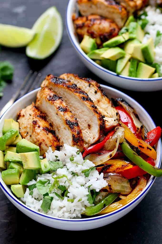 Cajun Chicken with coriander and lime rice tall